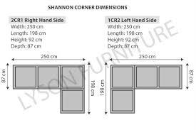 amusing shannon corner sofa dimensions in home decoration ideas