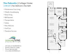 two bedroom cottage floor plans senior living retirement on pawleys island lakes at litchfield