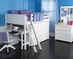 girls full mid loft bed w ladder u0026 desk