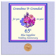 65 wedding anniversary 65th blue sapphire wedding anniversary presents cards gifts