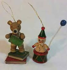 vintage wooden russ tree ornaments teddy and clown