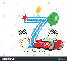 seventh birthday greeting card car vector stock vector 494861977