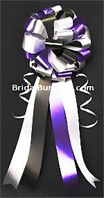 Wedding Pew Bows Set Of 14 Black Purple Silver U0026 White Wedding Pew Bows Church