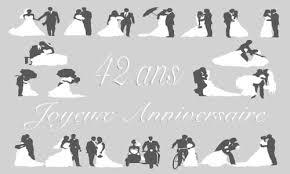 42 ans de mariage carte anniversaire mariage 42 ans gris