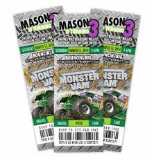 monster truck show ticket prices jam grave digger ticket style birthday invitation