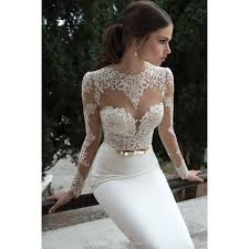 open back satin mermaid wedding dress with lace long sleeves the