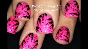 easy tropical design for short nails neon pink summer nail art
