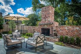 Yard Art Patio Fireplace Red Brick Patio Patio Traditional With Outdoor Umbrella Steel Fire