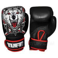 muaythai gloves black with wolf design