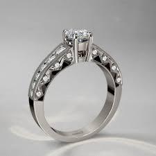 milgrain engagement ring milgrain vintage engagement ring in 14k white gold