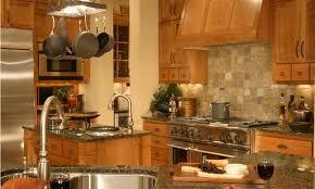 smooth stone tile backsplahsh kitchen square light brown varnished