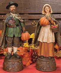 set of 2 autumn harvest wood carved thanksgiving pilgrim