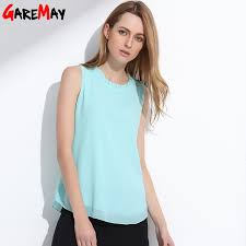 sleeveless blouses garemay shirt summer chiffon tops white sleeveless blouses