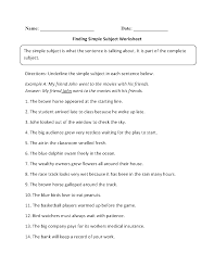 subject and predicate worksheets finding simple subject worksheet