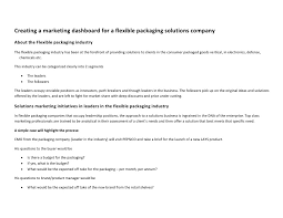 Resume For A Marketing Job by Marketing Dashboard For A Flexible Packaging Solutions Enterprise