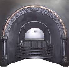 antique regency victorian cast iron brass arched fireplace insert