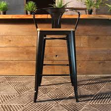 Tolix Bar Table Tolix Bar Stool With Armrest And Wood Seat 75 Cm Wazo Furniture