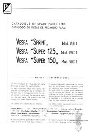 vespa 150 super 150 sprint 125 super parts manual