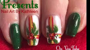 christmas nail art decorated presents freehand nail design youtube
