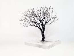 black minimal art wire tree statue creepy spooky miniature