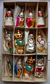 12 vintage blown glass figural ornaments clown teddy