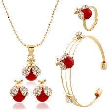 childrens necklace new arrival fashion cherry diamond kids jewelry set include