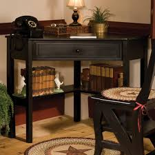 black wooden corner study table with single drawer on the floor