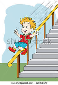 Banister Clips Boy Sliding Down Banister Stock Vector 379238176 Shutterstock
