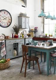 design white cottage shabby chic kitchen with pops of red small