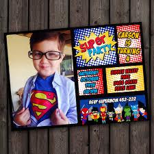 Customized Invitation Cards Free Superhero Invitations Fast Ship Free Customized Wording