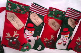 personalised christmas stocking santa green snowman red