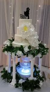 hand made lace 4 tier wedding cake with hand made wafer paper