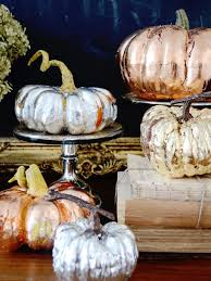 make metallic copper gold and silver pumpkins for a chic fall