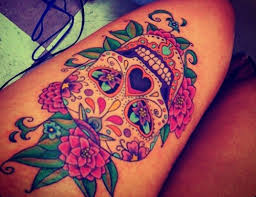 sugar skull with flowers thigh