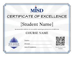 examples of certificates of completion mansfield independent district certificates of excellence
