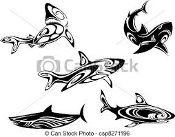shark tattoos set of shark tattoos in tribal style isolated