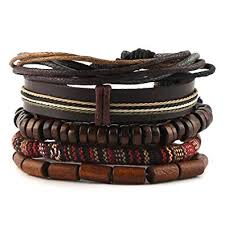 leather wrap bracelet men images Hzman mix 5 wrap bracelets men women hemp cords wood jpg