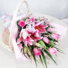 pink lillies pink lilies pink roses bouquet flower bunches gift my