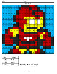 iron man advanced multiplication coloring squared