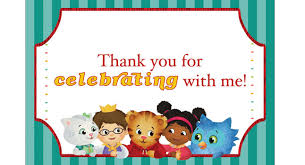 daniel tiger thank you card daniel tiger theme party pbs