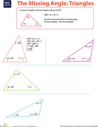 the missing angle triangles worksheet education com