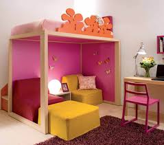 Pink Armchair Design Ideas Bedroom Marvelous Kids Bedroom Design Wooden Loft Bed Along Pink