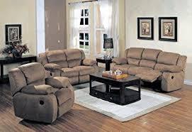 microfiber living room set amazon com belmont saddle microfiber 3 pc reclining living room set