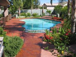 swimming pool stamped concrete pool deck with delightful garden