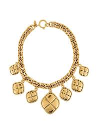 charm necklace choker images Chanel gold quilted charm choker necklace tradesy jpg