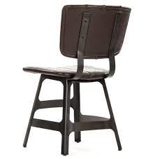 Distressed Leather Dining Chairs Robertson Rustic Industrial Espresso Brown Leather Iron Dining