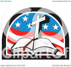 clipart of a christian cross and open bible in an american flag