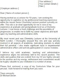 lecturer cover letter sample