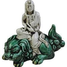 antique kutani 九谷焼 porcelain ornament or sculpture of monju