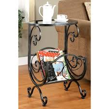 metal glass top accent table with magazine rack free shipping